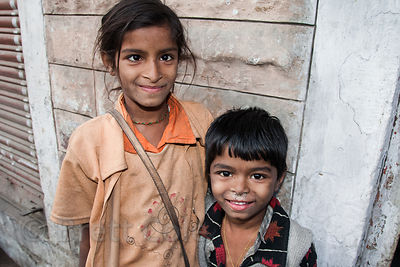 Girl with eye condition and her brother, Jodhpur, Rajasthan, India