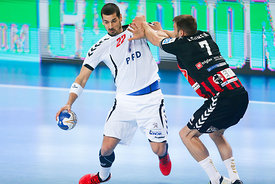 Josip VALČIĆ of PPD Zagreb, Matijaž BRUMEN of Vardar during the Final Tournament - Final Four - SEHA - Gazprom league, semi f...