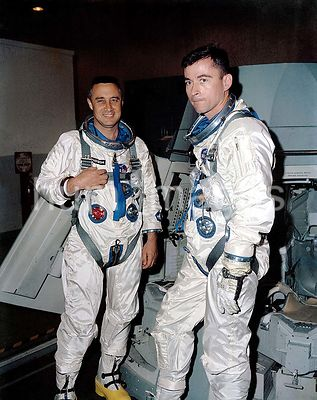 (26 Feb. 1965) --- The Gemini-Titan 3 prime crew, astronauts Virgil I. Grissom (left), command pilot, and John W. Young, pilo...