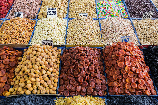 Dried Fruits and Nuts on Sale at the Osh Bazaar