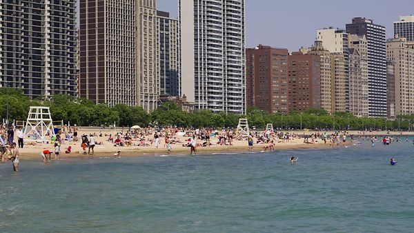 Medium Shot: A Day At Oak Street Beach, Lake Michigan
