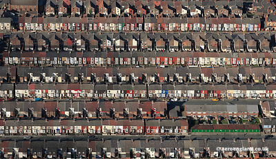 aerial photograph of Terraced Houses in the Bootle   district of  Liverpool Merseyside England UK