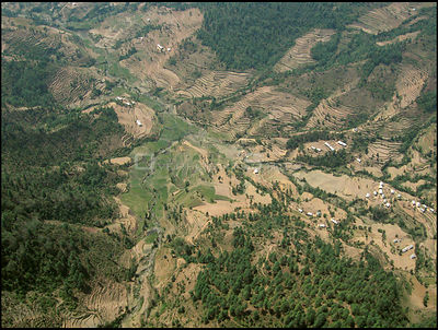 NEPAL Nr Jiri -- 16 Apr 2005 -- Aerial photo of terraced farmland near Jiri. Scientists have warned that rising temperatures ...