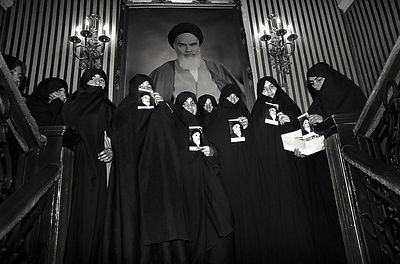 A crowd of chador-covered Iranian women after Islamic Revolution. IRAN. TEHRAN1979