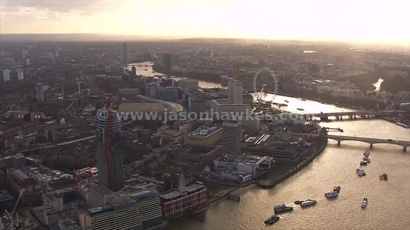 Aerial footage of South Bank and Waterloo at sunset, London