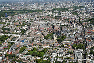 aerial photograph of Chelsea London England UK  with King's Road London SW3 5ED running up the right of the image. Also in th...