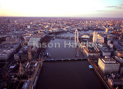 Aerial view of the London Eye and River Thames, London