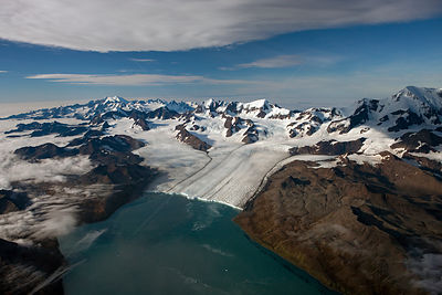 Aerial view of Nordenskj?ld Glacier with Allardyce Mountain Range, South Georgia, March 2011
