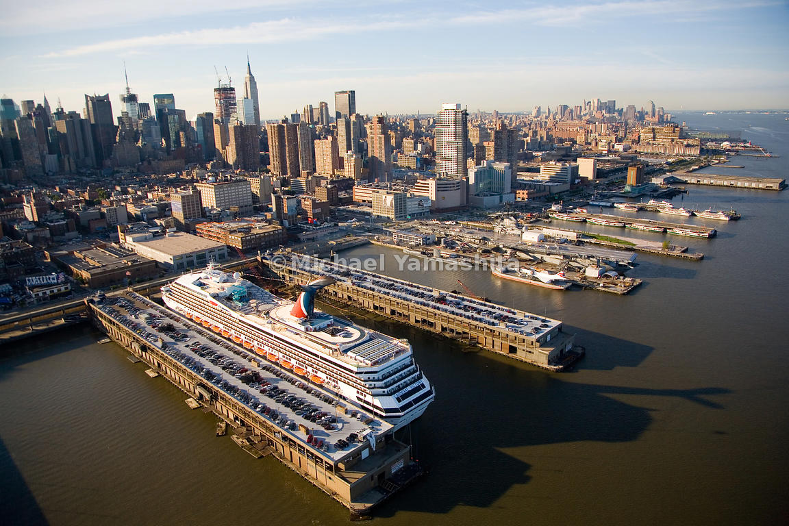 The growing interest in cruising has revived the Passenger Ship Terminals on the Hudson River. A Carnival cruise ship anchors...