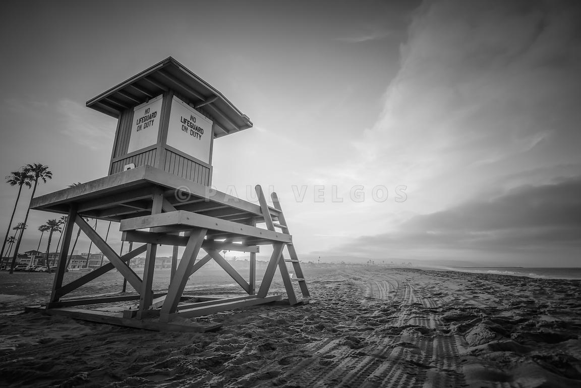 Lifeguard Tower B Newport Beach Black and White Photo