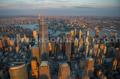 Aerial view of the skyscrapers in Lower Manhattan, including One World Trade Center, the tallest building in the Western Hemi...
