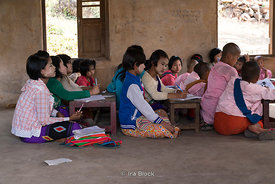 Novice nuns in a classroom at Htet Eain Cave Monastic Education Schools near Nyaungshwe in Myanmar.