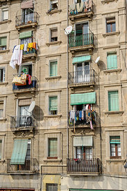BARCELONA, SPAIN - MARCH 04, 2012: Exterior view of apartments in Barcelona Spain.