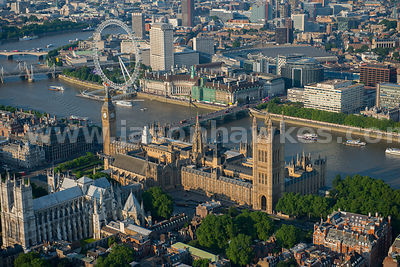 London. Aerial view of the Houses of Parliament