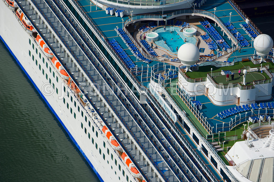 Aerial view of people on the Caribbean Princess Cruise Ship