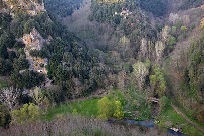 Aerial view of the Valley of the Lente, which is dotted with ancient and culturally significant Etruscan tombs. Sorano, Tusca...