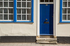 A blue front door and windows in Oxford,UK.