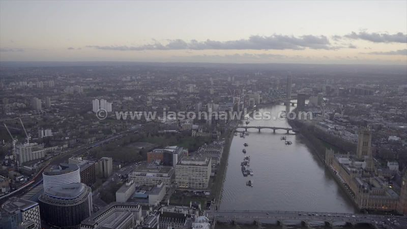 Aerial footage of the River Thames and Lambeth, London
