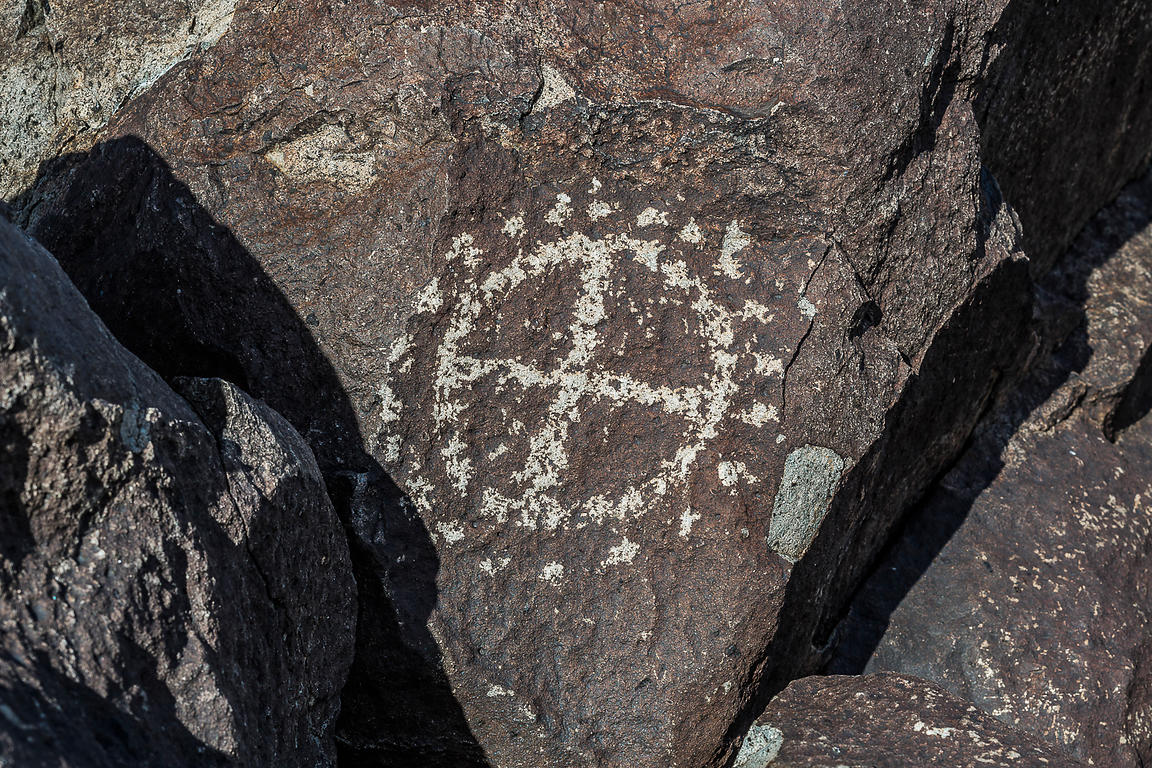 Rock Art Showing Circle and Dot Motif at Three Rivers Petroglyph Site