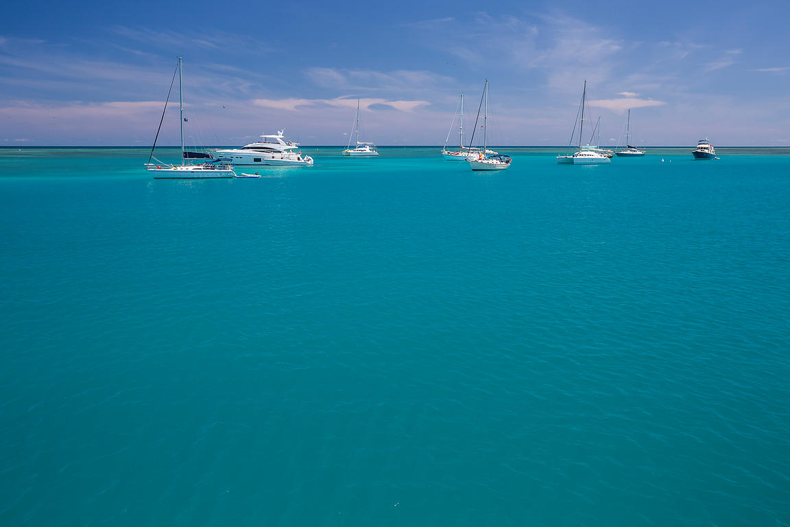 Boats Anchored Outside Fort Jefferson in Dry Tortugas National Park
