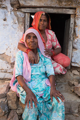 Mother and daughter from a farming family in Amba village, Rajasthan, India