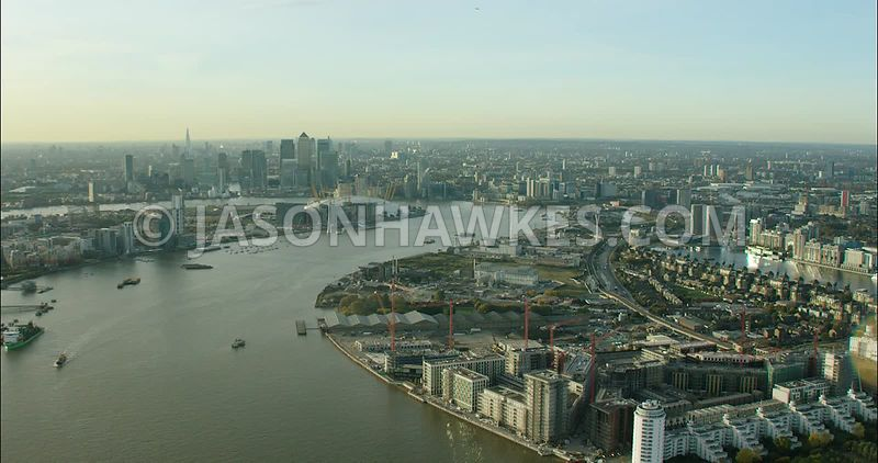 London Aerial Footage of Emirates Air Line Cable Car