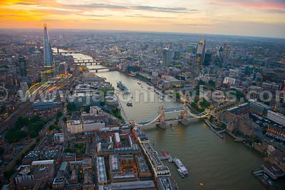 Aerial view of Tower Bridge at dusk, London