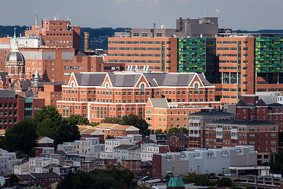 View of Johns Hopkins Hospital from the 20th floor of a hotel at the Baltimore Inner Harbor, Maryland