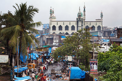 A mosque in the Dharavi slum, Mumbai, India.