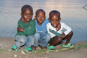 Children on the shore of Lake Kivu, Rubavu, Rwanda