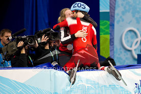 Feb 26, 2010: Pacific Coliseum, Vancouver, BC. Charles Hamelin of Canada celebrates his Gold Medal victory in the Mens 500m sprint event in the Short Track Speed Skating at the Vancouver 2010 Winter Olympics. Photo by Scott Brammer/coastphoto.com