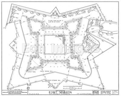 Schematic of the Castillo de San Marcos, St. Augustine, Florida