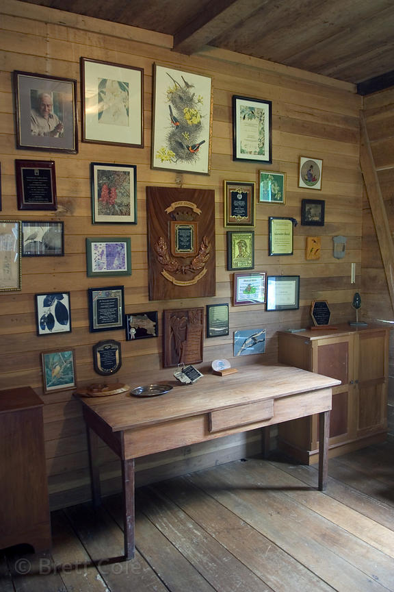 Library or sala of the late renowned ornithologist Dr. Alexander Skutch, Los Cusingos Reserve, Costa Rica.