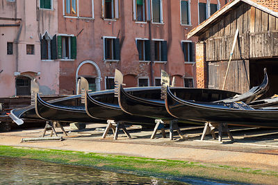 Italy, Venice, Traditional gondola at San Trovaso