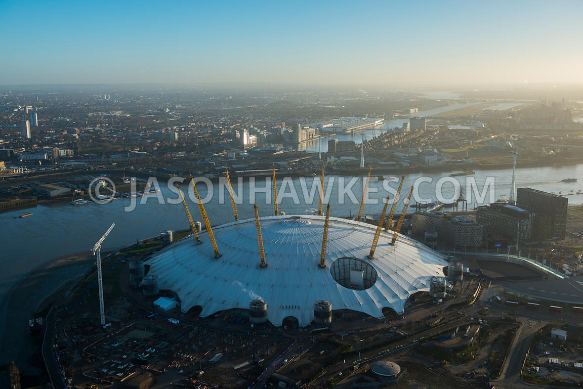 Aerial view of the O2 Arena, Greenwich Peninsula, London
