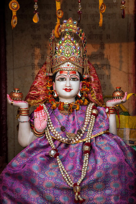 A statue of Mother Ganga (Goddess of the Ganges River) at a temple along the river in Varanasi, India.