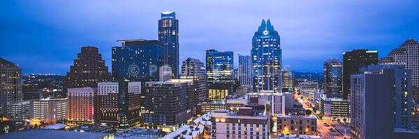Austin Skyline at Night Panorama Picture
