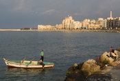 fishing boat at the waterfront at the Mediterranian sea, Alexandria, Egypt