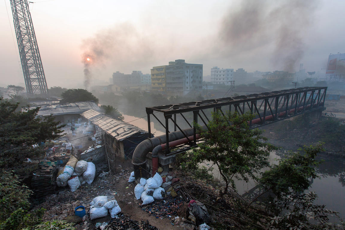 Air pollution from smelters and fires near Dhapa, Kolkata, India. Dhapa is also the site of Kolkata's largest landfill.