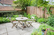 Brigit Strawbridge's tiny bee friendly courtyard garden in St James', Shaftesbury, planted with wildlife in mind, particularl...