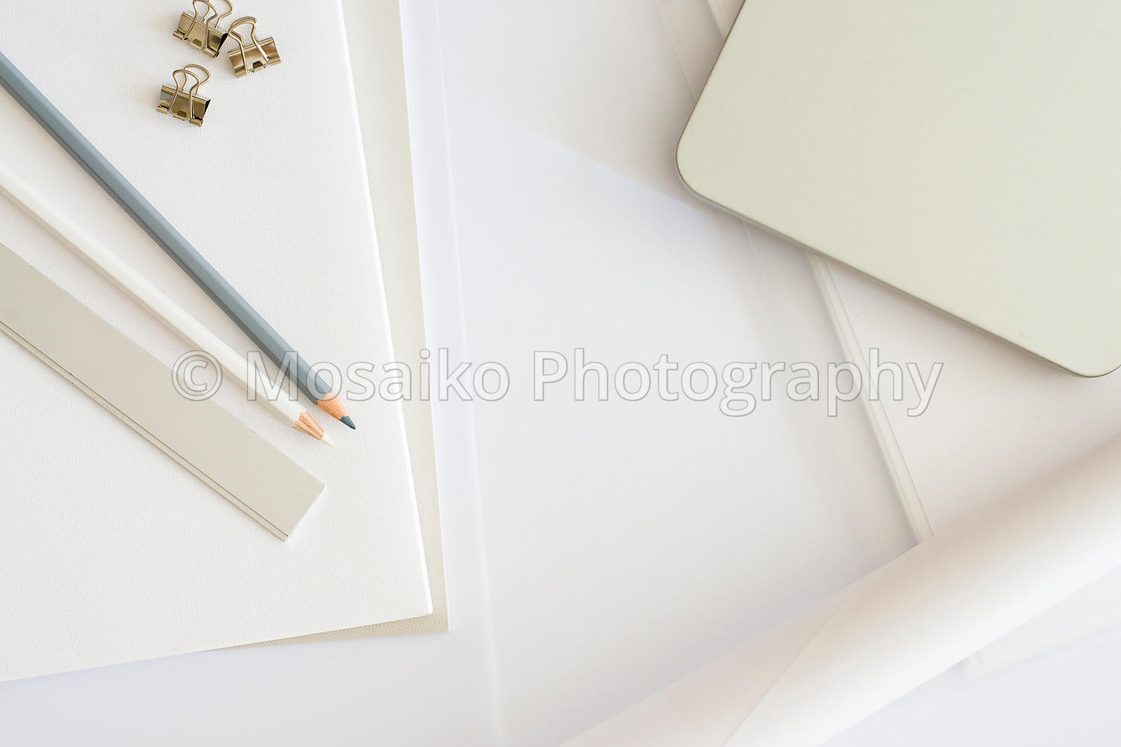 white business desktop from above with design objects, copyspace for your text - top view