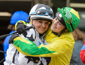 Catherine Mills and Jasean Spraggett in the Parade Ring - Champions Willberry Charity Flat Race - Cheltenham Racecourse, Apri...