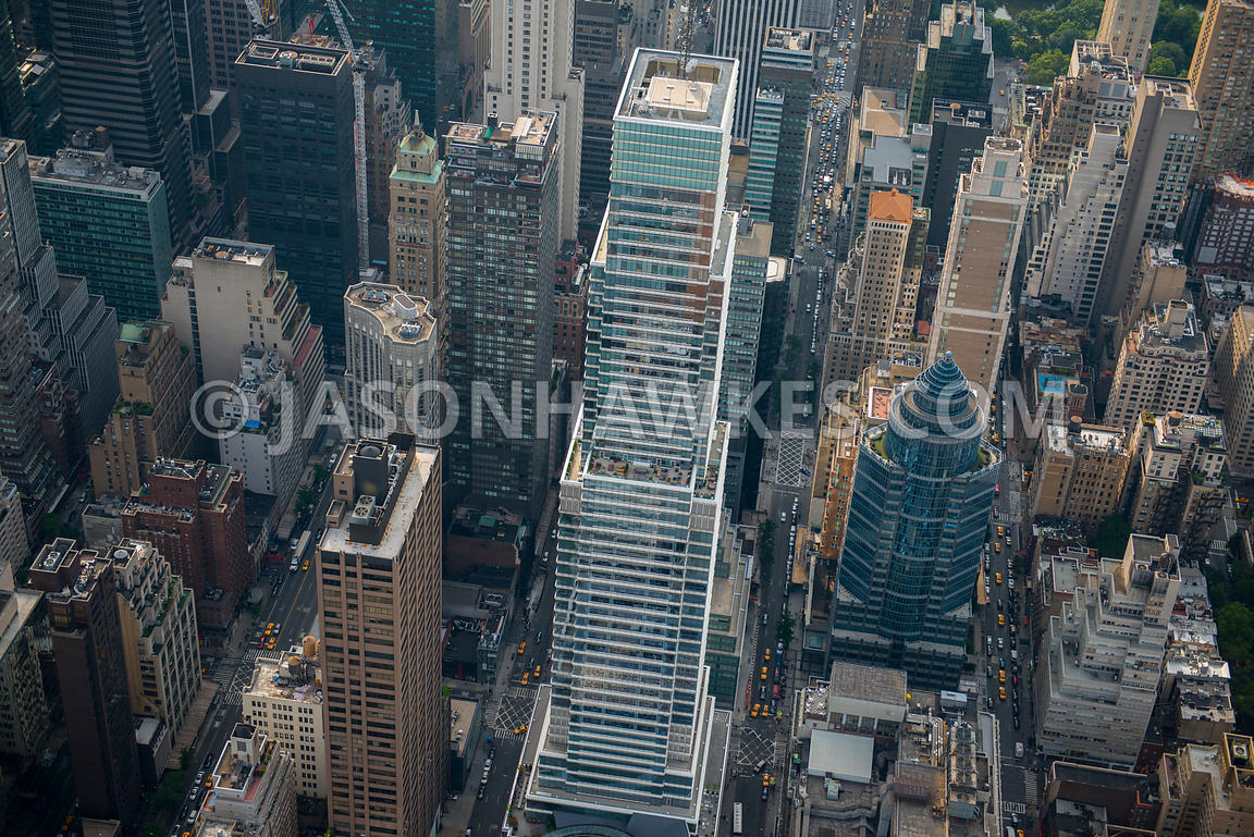 Aerial view of Bloomberg Tower, a glass skyscraper on the East Side of Midtown Manhattan, New York City