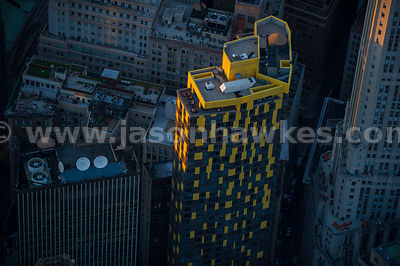 Close up aerial view of WIlliam Beaver House,   47-floor residential skyscraper in Manhattan
