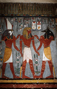 painting of Rameses I and god Horus in the burial chamber in the tomb of Rameses I, Valley of the Kings, Luxor, Egypt