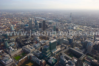 Aerial view over Broadgate, Liverpool St and Finsbury Circus, London.