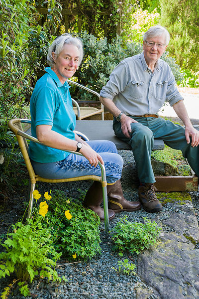 Diane Hewitt and David Kinsman, owners and creators of the garden at Windy Hall, Windermere, Cumbria, UK