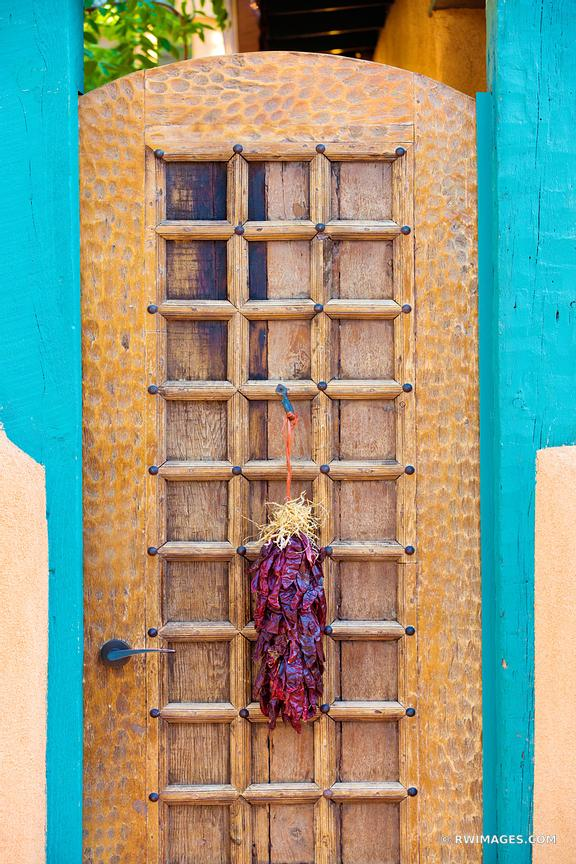 DOOR WITH RED CHILE RISTRAS SANTA FE NEW MEXICO