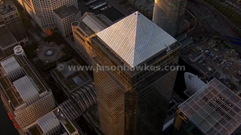 Aerial footage of One Canada Square, Canary Wharf, London