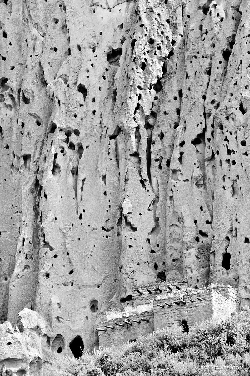 CLIFF DWELLINGS BANDELIER NATIONAL MONUMENT NEW MEXICO BLACK AND WHITE VERTICAL